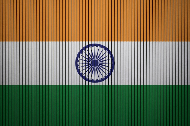 Painted national flag of india on a concrete wall