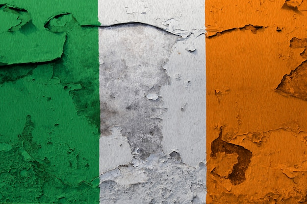 Painted national flag of ireland on a concrete wall