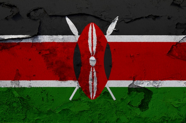 Painted national flag of kenya on a concrete wall
