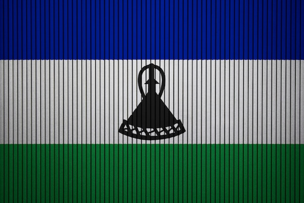 Painted national flag of lesotho on a concrete wall