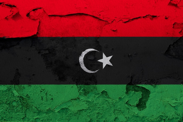 Painted national flag of libya on a concrete wall