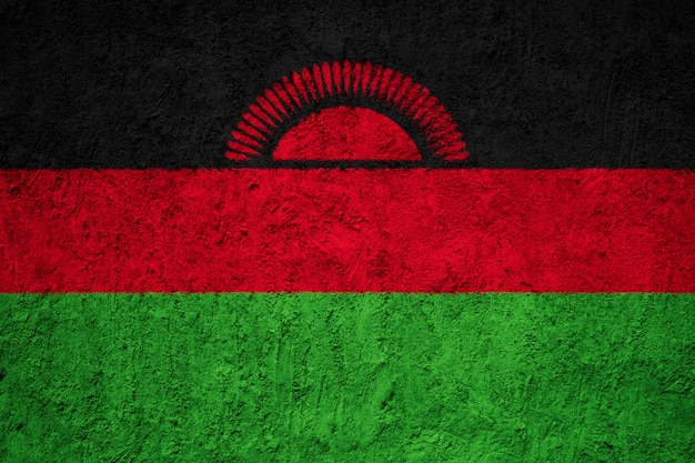 Painted national flag of malawi on a concrete wall