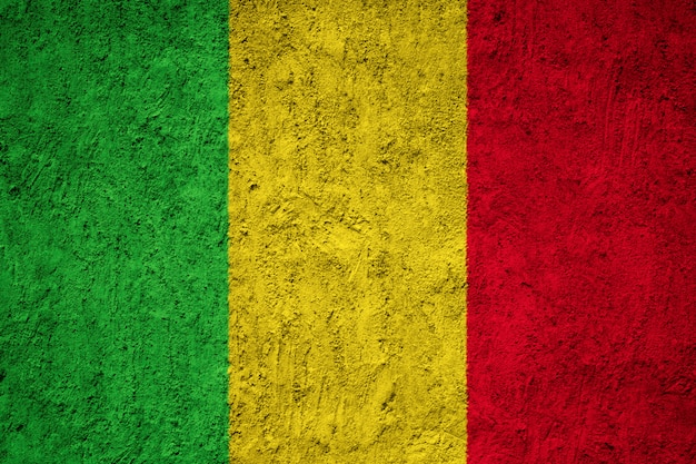 Painted national flag of mali on a concrete wall