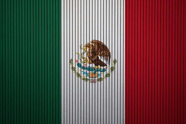 Painted national flag of mexico on a concrete wall