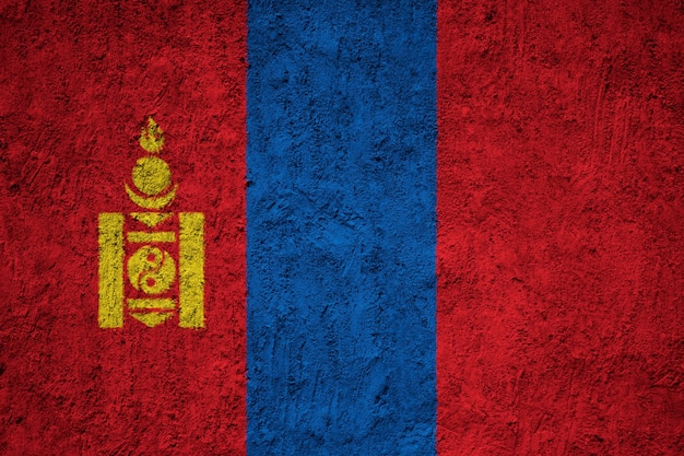 Painted national flag of mongolia on a concrete wall