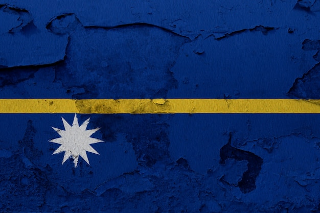 Painted national flag of nauru on a concrete wall