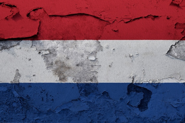 Painted national flag of netherlands on a concrete wall