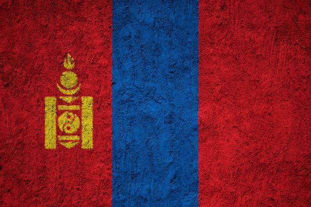 Окрашенный национальный флаг монголии на бетонную стену