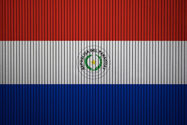 Painted national flag of paraguay on a concrete wall