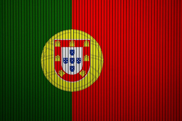 Painted national flag of portugal on a concrete wall