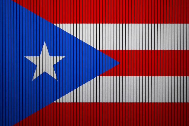Painted national flag of puerto rico on a concrete wall
