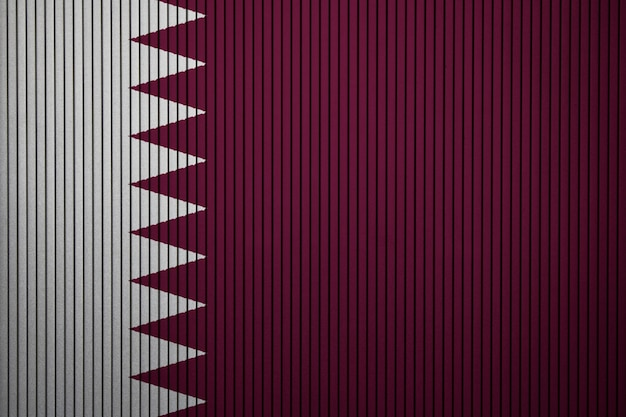 Painted national flag of qatar on a concrete wall