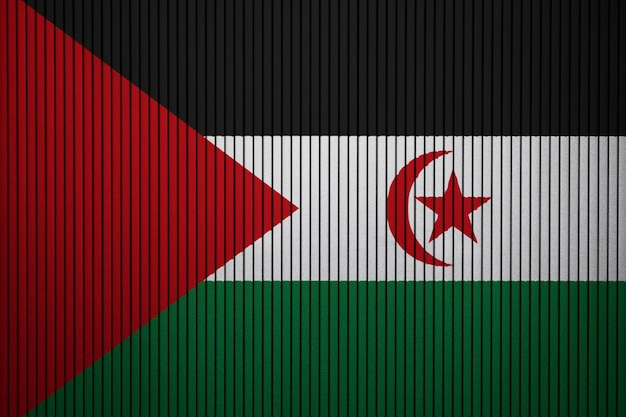 Painted national flag of sahrawi arab democratic republic on a concrete wall