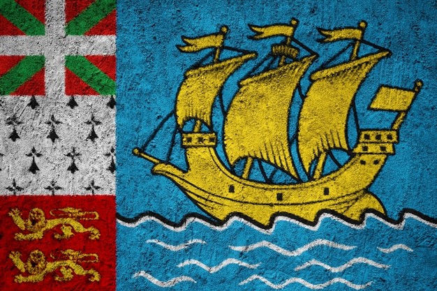 Painted national flag of saint pierre and miquelon on a concrete wall