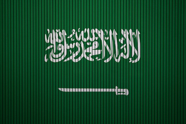 Painted national flag of saudi arabia on a concrete wall