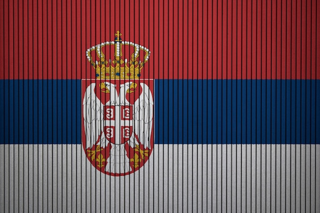Painted national flag of serbia on a concrete wall