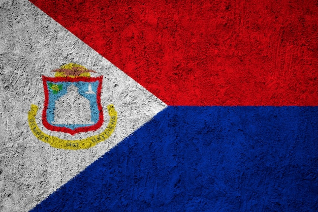 Painted national flag of sint maarten on a concrete wall