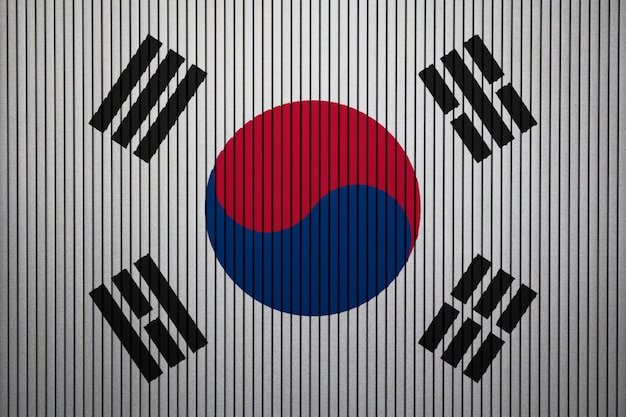 Painted national flag of south korea on a concrete wall