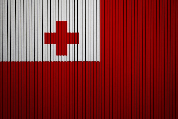 Painted national flag of tonga on a concrete wall