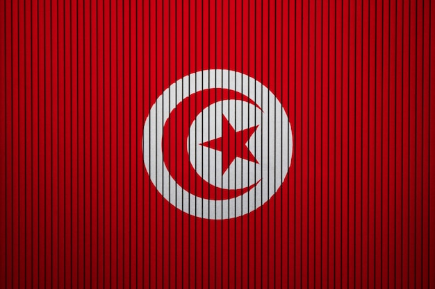 Painted national flag of tunisia on a concrete wall