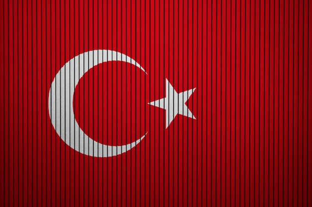 Painted national flag of turkey on a concrete wall