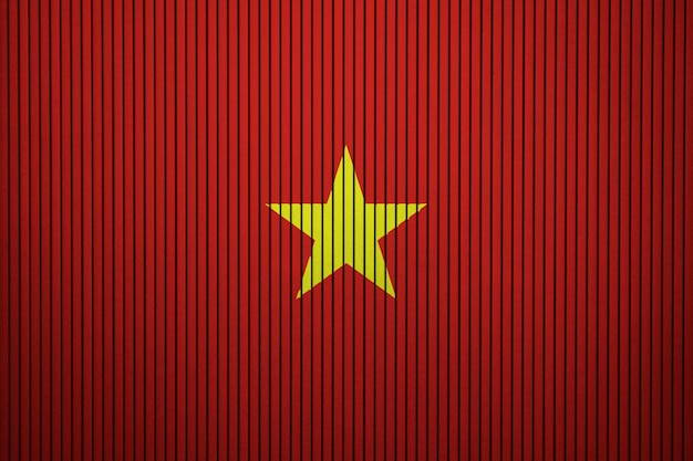 Painted national flag of vietnam on a concrete wall