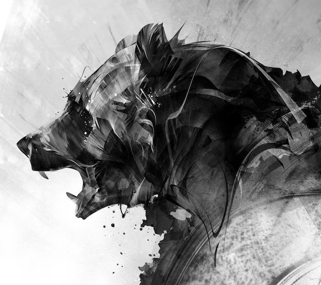 Painted portrait of a beast bear in monochrome