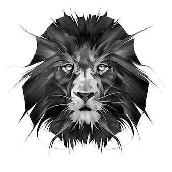 Painted portrait of lion face on white background