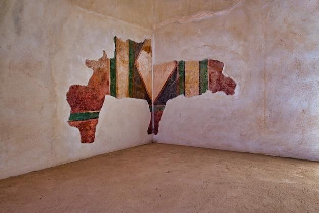 Painted wall of an interior of palace of masada israel