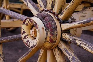 Painted yellow wagon wheel