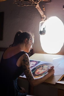 Painter making an artistic portrait.