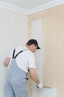 Painter painting a wall in the room