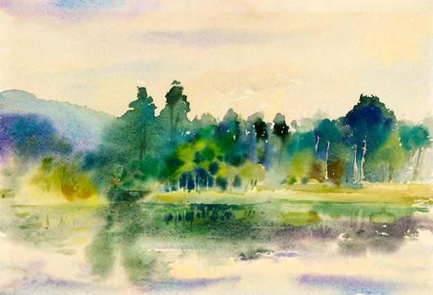 Painting art watercolor landscape original colorful of mountain