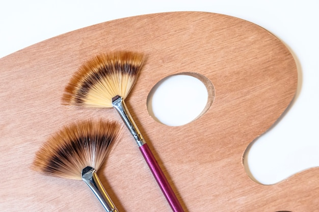 Painting brushes and palette isolated on white background.