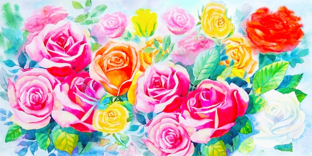 Painting  colorful bunch of roses in the garden