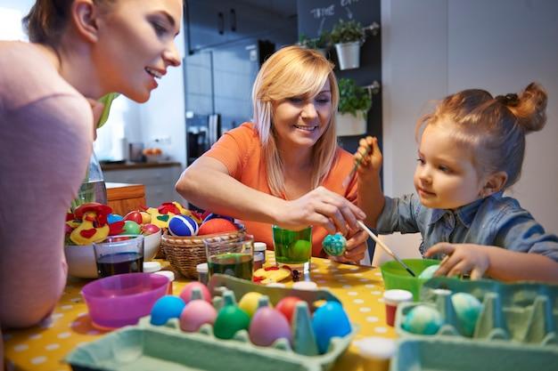 家族と一緒にイースターエッグを描く