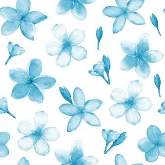 A painting of frangipani flowers in blue and white colors