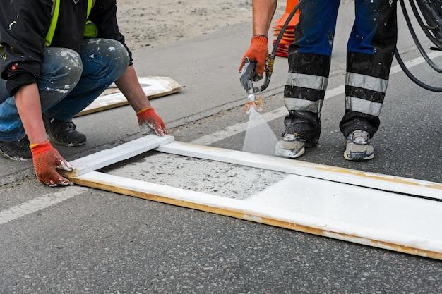 Painting of road markings