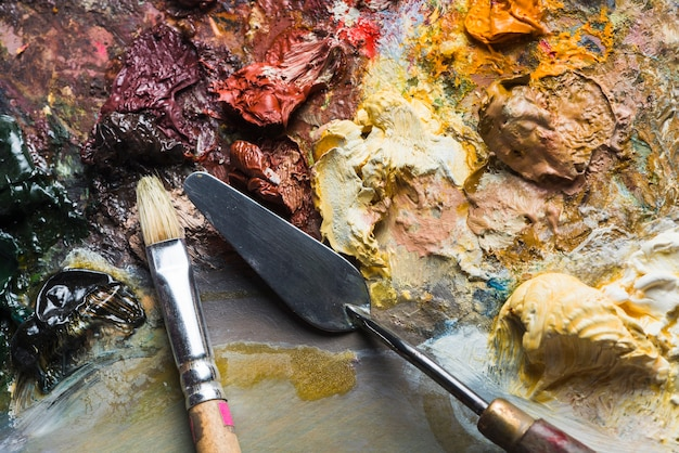 Painting tools on professional palette