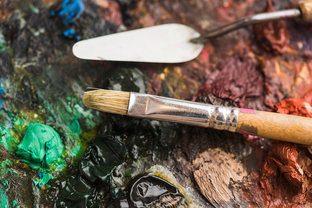 Painting tools on rough palette