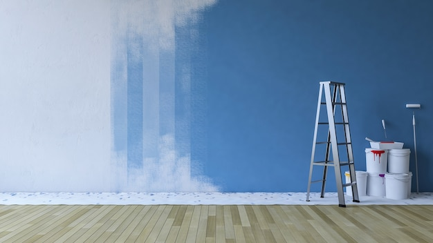 Painting wall blue in an empty room