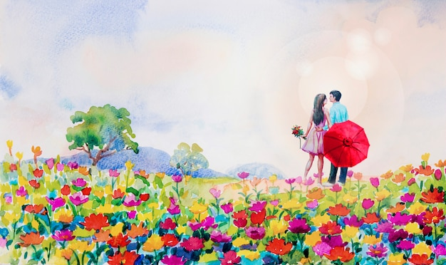 Painting watercolor landscape daisy flowers in garden.