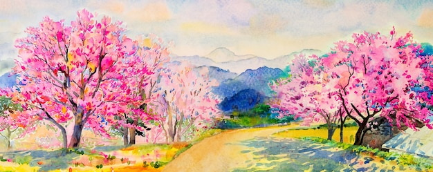 Painting watercolor landscape of wild himalayan cherry trees