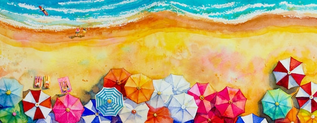 Painting watercolor seascape top view colorful of lovers, family.