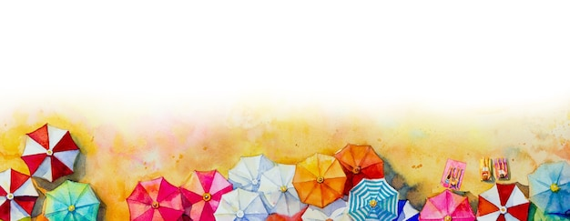 Painting watercolor seascape umbrella top view colorful of love vacation and tourism in summer