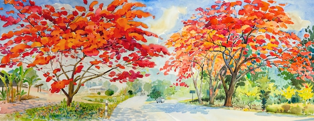 Painting waterlcolor landscape