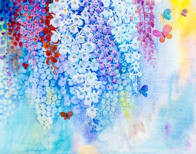 Painting white color of orchid flower and butterflies fly