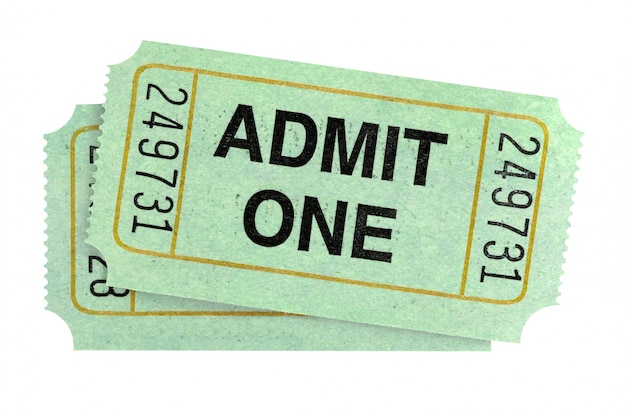 Pair of admit one tickets isolated on white background.