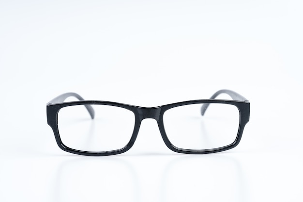 Pair of black plastic prescription optical glasses