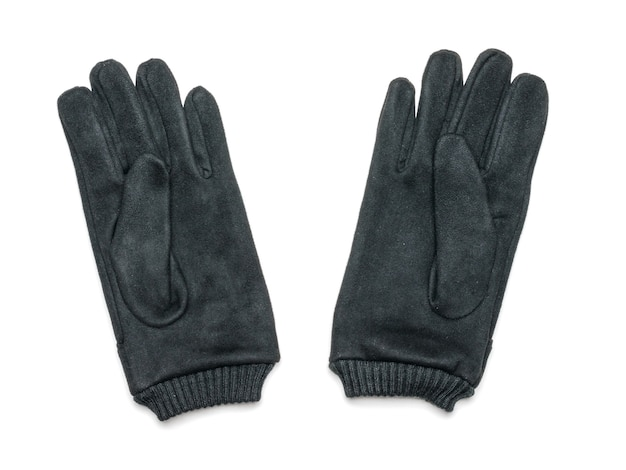 A pair of black suede gloves isolated on white